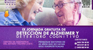 Invitación a la 9.a Jornada Gratuita de Detección de Alzheimer y Deterioro Cognitivo 21-10-18