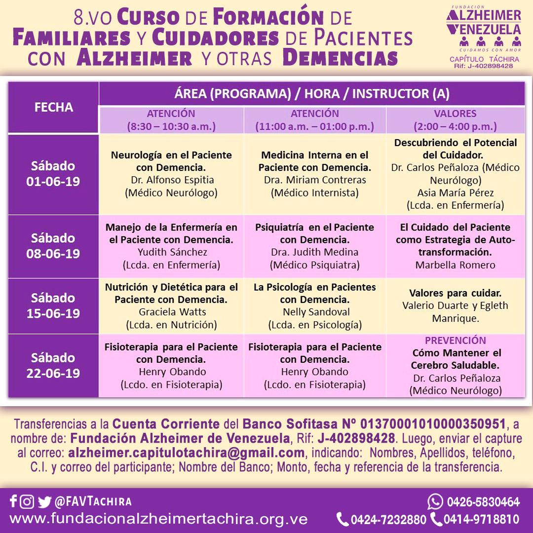 Programa octavo curso de cuidadores de la FAVTachira