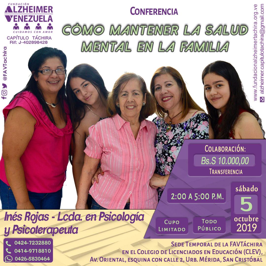 Conferencia Como mantener la salud mental en la familia